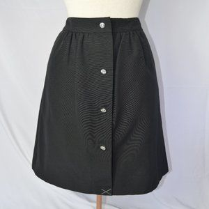 Talbots Dressy Black A-Line Skirt w/ Jewel Buttons